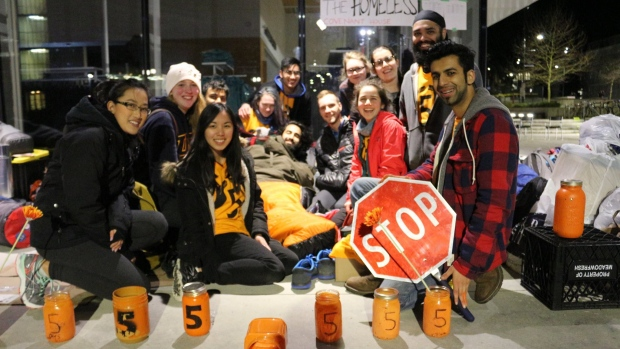 Nine students from the University of British Columbia have camped out over the past week to raise money for initiatives to end homelessness. (5 Days for the Homeless — UBC Vancouver/Facebook)