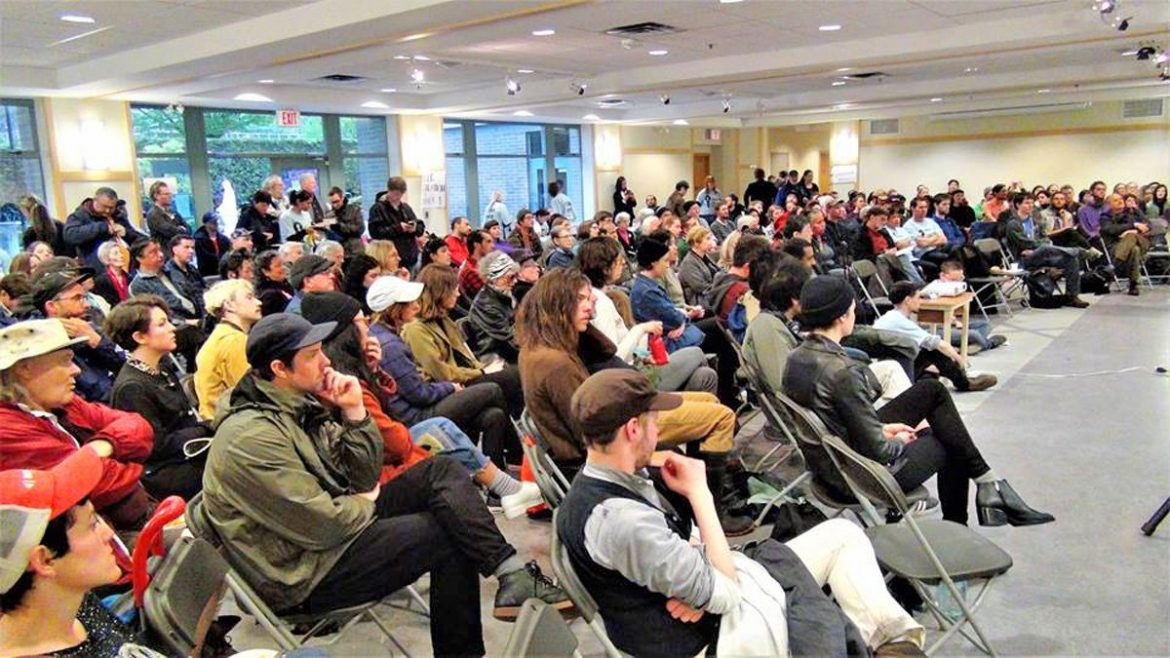 More than 150 renters pack into the inaugural meeting of the Vancouver Tenants Union on Saturday, April 29, 2017 at St. Patrick's Catholic Church in Mount Pleasant neighbourhood.