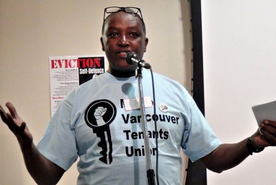 Lama Mugabo, an organizer with the Vancouver Tenants Union, speaks before a crowd of more than 150 at the union's inaugural meeting on Saturday, April 29, 2017 at St. Patrick's Catholic Church in Mount Pleasant neighbourhood.