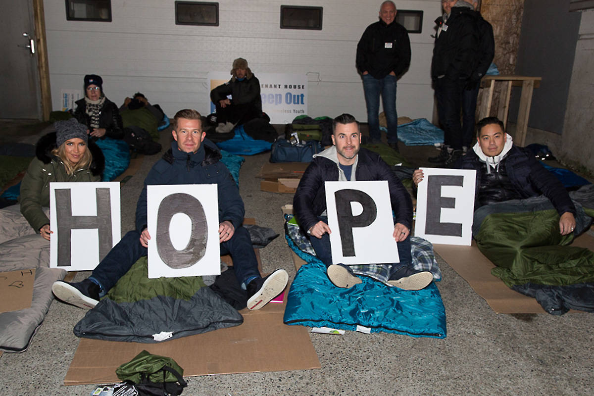 Joseph Richard Group's Ryan Moreno (far right) and Matthew Stowe (second from right) at last year's Vancouver Sleep Out event in support of Covenant House. This year Stowe will be sleeping out at Oak &Thorne in Langley Nov. 13 and three days later in Vancouver. Submitted pic