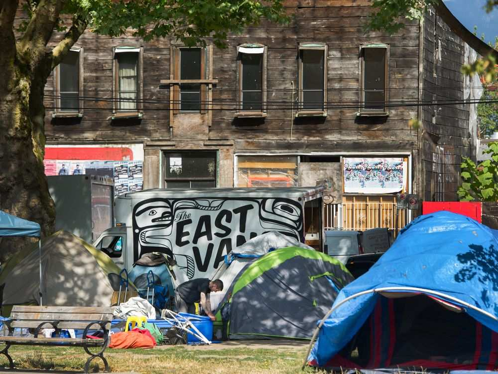 Oppenheimer Park in Vancouver on Monday, Aug. 19, as the city issued eviction notices to the campers ordering them to remove all tents and structures by Wednesday evening. Arlen Redekop / PNG