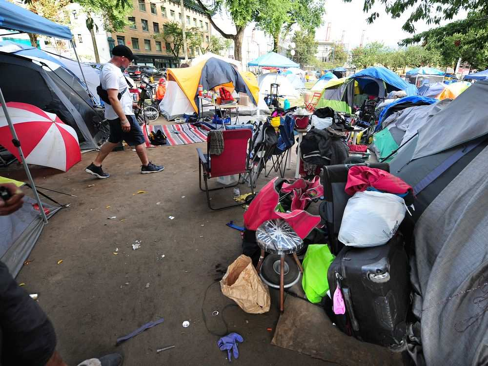 Scenes from the homeless camp at Oppenheimer Park as the city prepares to relocate the campers, in Vancouver, August 18, 2019. NICK PROCAYLO / PNG