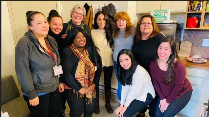The Duchess of Sussex sipped Tetley tea and spent more than an hour with shelter managers and frontline workers, learning about issues faced by marginalized and vulnerable women. (Downtown Eastside Women's Centre/Facebook)